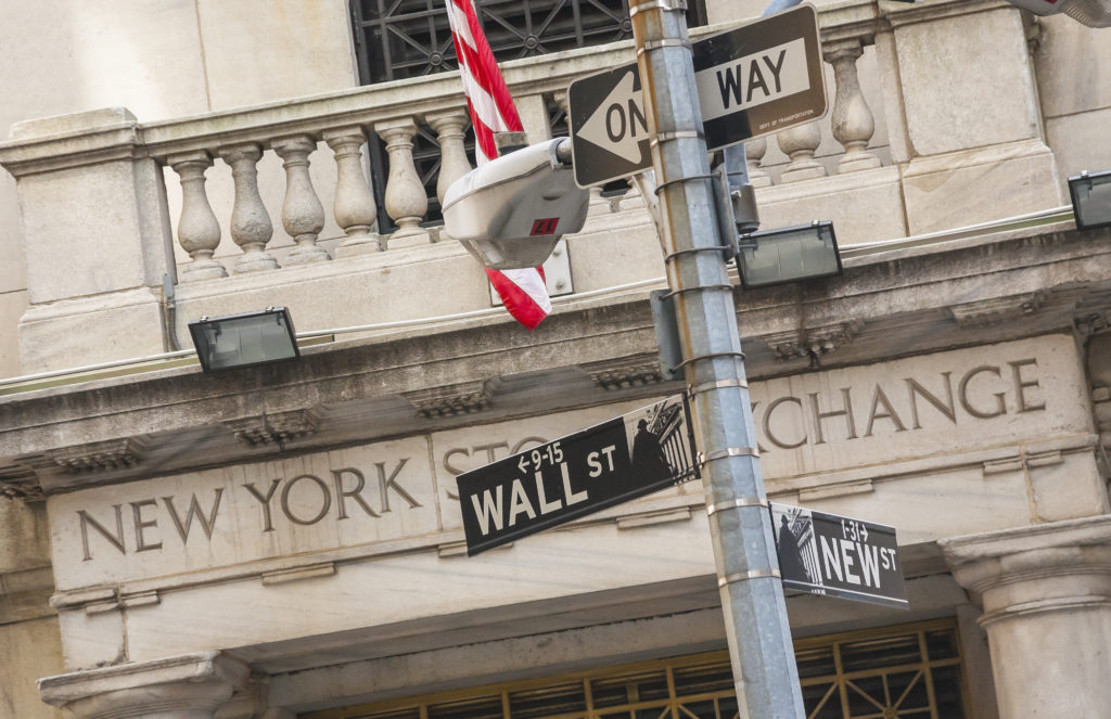 USA,New York City, Wall Street sign